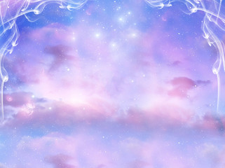 mystical background with cloudy sky and magic stars