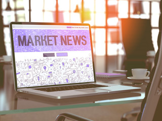 Market News - Closeup Landing Page in Doodle Design Style on Laptop Screen. On Background of Comfortable Working Place in Modern Office. Toned, Blurred Image. 3D Render.