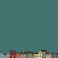 Town. Cute vector illustration of colored houses.