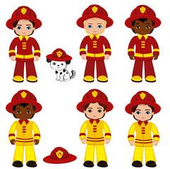 Fire brigade cute boys cartoon vector illustration.vector illustration isolated oh white background.