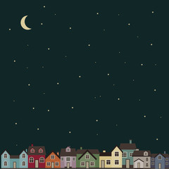 Night town. Cute vector illustration of colored houses.