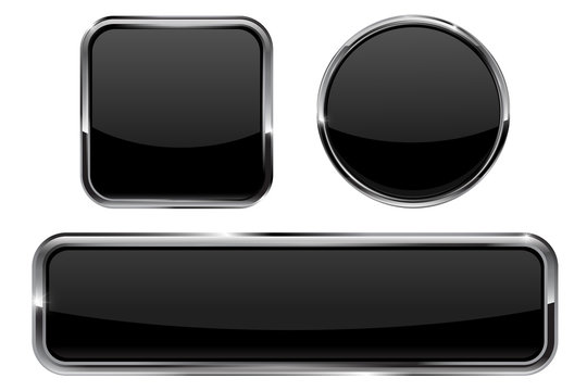 Buttons. Black shiny glass sphere and square button with metal frame
