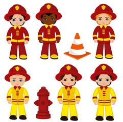 Fire brigade cute boys cartoon vector illustration.