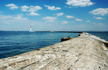 Panorama of old Vorontsov Lighthouse in Odessa bay, Ukraine