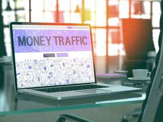 Money Traffic Concept - Closeup on Landing Page of Laptop Screen in Modern Office Workplace. Toned Image with Selective Focus. 3D Render.