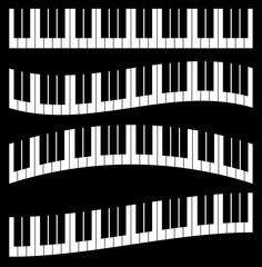 Piano keys, piano keyboard isolated. Vector illustration.