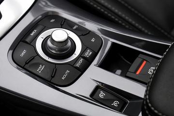 Luxury car interior details. Closeup shot.