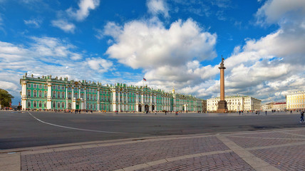 The Winter Palace on the Palace Square in St. Petersburg, Russia.