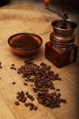 Still life with coffee beans