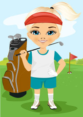 Young little girl with a golf club