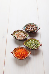 Healthy pulses products chick-pea, lentil, beans and peas, selective focus