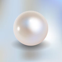 Pearl vector on a light blue bokeh fog background.