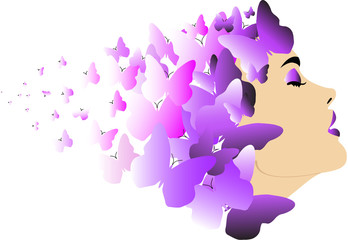 Profile woman with butterflies