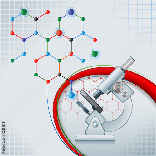 Abstract computer graphic with microscope and chemical structure ...