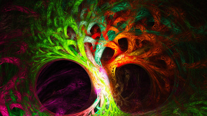 Abstract image. Mysterious psychedelic tree. Sacred geometry. Fractal Wallpaper pattern desktop. Digital artwork creative graphic design. Format 16:9 widescreen monitors.