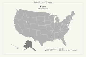 United States of America isolated map and Alaska state territory. vector USA political map. geographic banner design