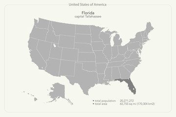 United States of America isolated map and Florida state territory. vector USA political map. geographic banner design