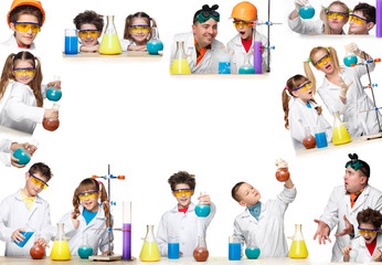 The collage from images of boys and girls as chemist doing experiment