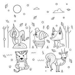 animals cartoon in forest winter