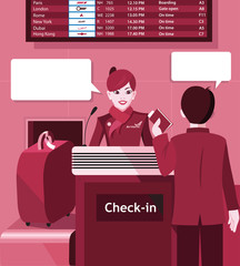 Stewardess with the passenger at the check in - flat design