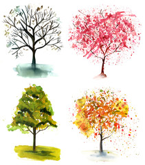 A set of abstract watercolor trees in various seasons