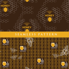 set seamless pattern for honey product