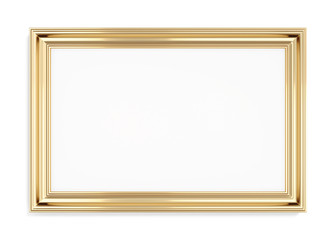 Rectangular gold picture frame on a white background. 3d renderi