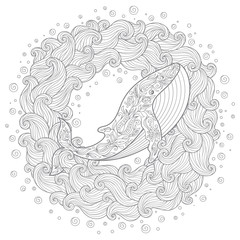Hand drawn whale in the waves for anti stress Coloring Page