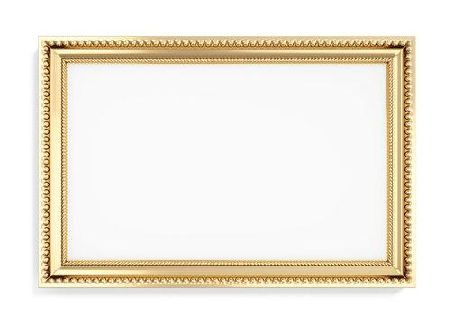Gold rectangular frame isolated on white background. 3d renderin