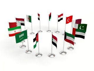 Middle East small Flags countries in a circle. 3d illustration on a white background.
