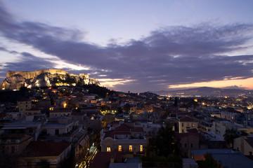 Acropoli e Atene città al tramonto