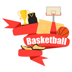 Red Ribbon basketball. Clothing and equipment. Vector illustration