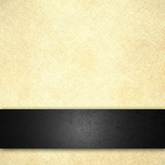 elegant black and white background with vintage beige paper color with black textured stripe that is blank for adding your own title or text
