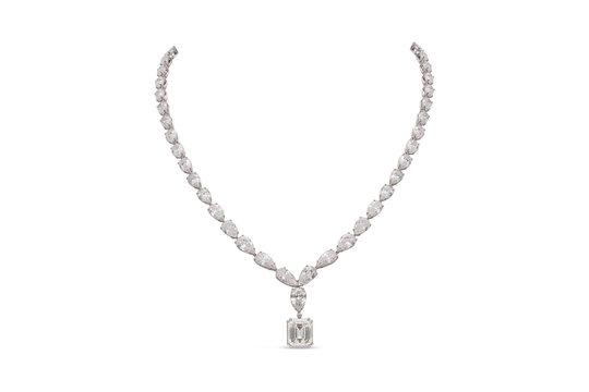 Gorgeous Emerald and Teardrop Cut Diamond Necklace