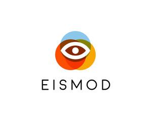 Abstract eye logo design. Optical creative symbol. Universal vector icon. Video photo lens security sign.