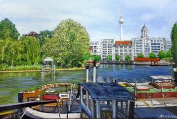 Historischer Hafen in Berlin Mitte / Blick auf den Berliner Fernsehturm / Ölgemälde Berlin Mitte
