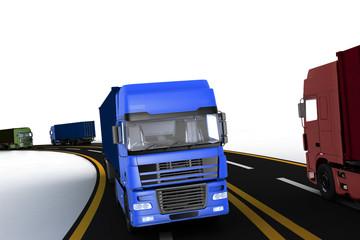 Trucks on freeway. 3d render illustration.