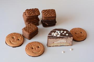 Delicious dessert on white table