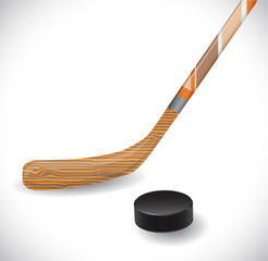 Hockey stick and hockey puck.
