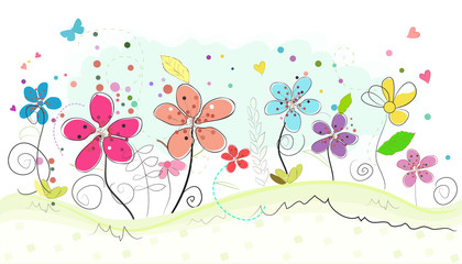 Spring time colorful abstract doodle flowers vector background