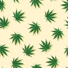 Marijuana Leafs With Shadows Seamless Vector Pattern Background