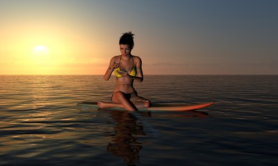 Surfer Girl Texting At Sunrise On Surf Board
