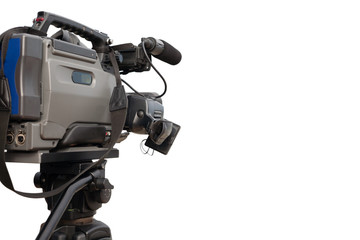 Professional video camera in the working position
