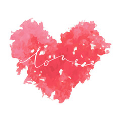 Watercolor pink heart card with lettering Love