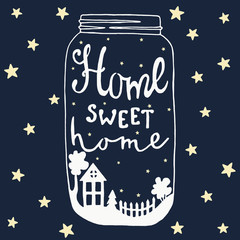 Jar Home sweet home. House, yard, tree, stars, fence, bush