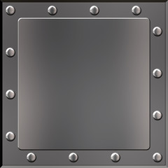 Riveted Metal Plate #04 - A polished metal plate with panel and rivets.
