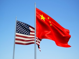 China and American flags waving in the wind with a blue sky background. 3d illustration