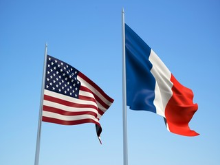 French and American flags waving in the wind with a blue sky background. 3d illustration