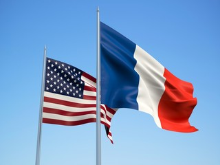 France and American flags waving in the wind with a blue sky background. 3d illustration