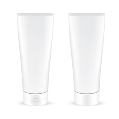 VECTOR PACKAGING: Set of white gray cosmetic tube different cap on isolated white background. Mock-up template ready for design .